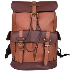 NEW Coach brown leather Buckle Travel Backpack